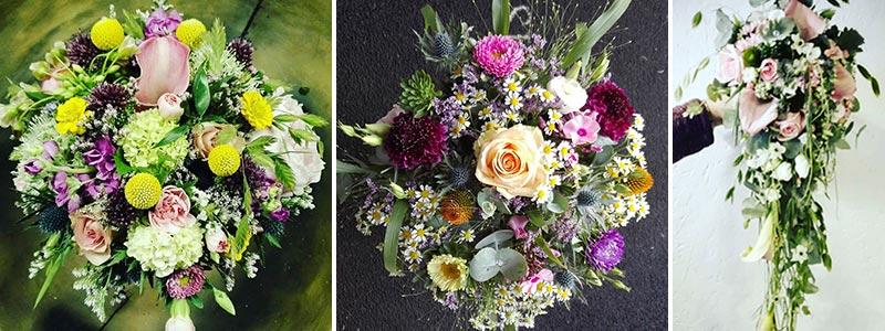 Brudebuketter i forskellige farver og former.