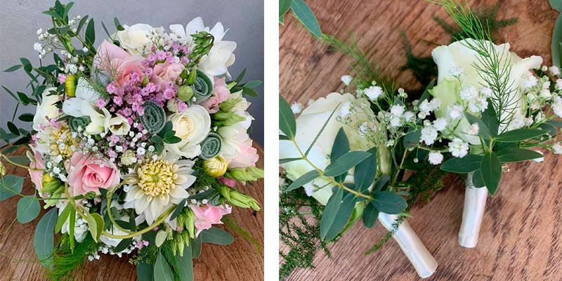 En smuk brugdebuket og et billede af to knaphulsblomster, der matcher brudebuketten.