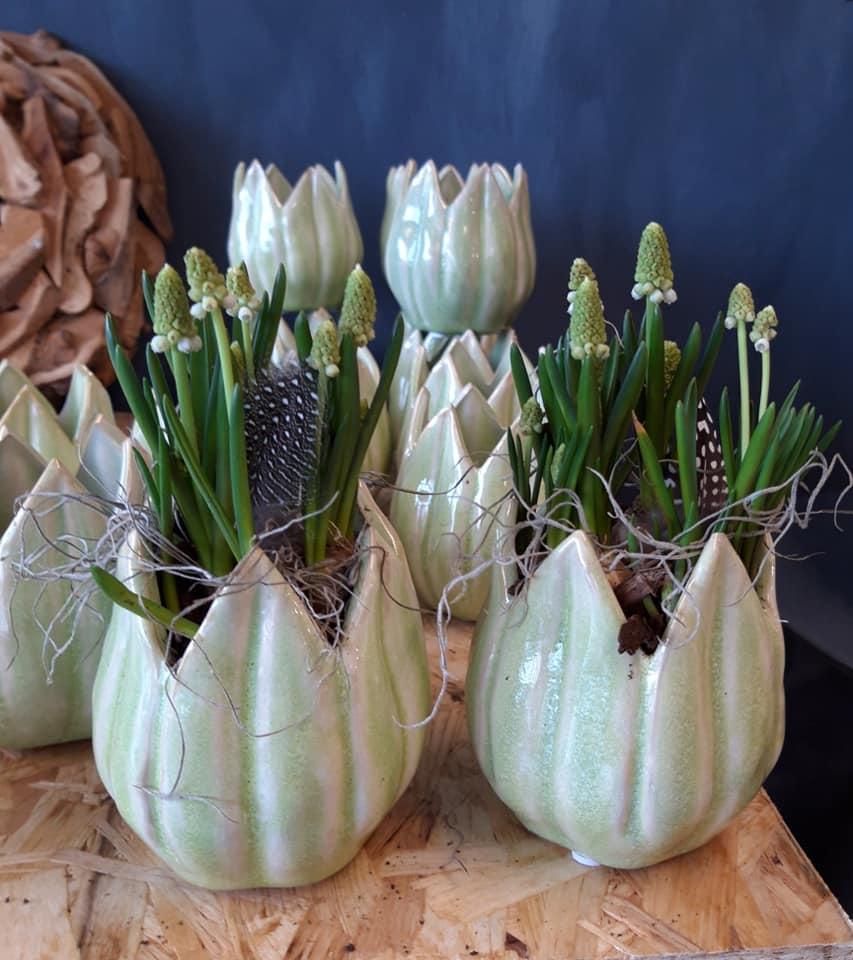 Perlehyacinter plantet i fine forårspotter og pyntet med fjer.