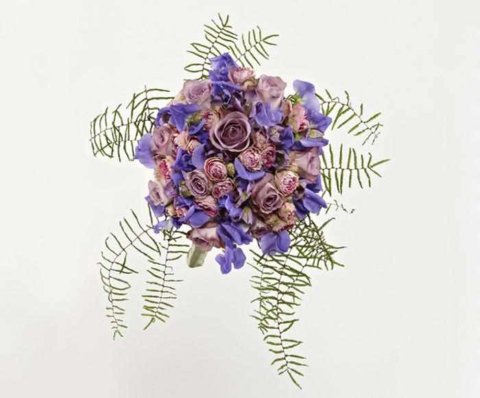 Image of   Brudebuket i lilla og blå nuancer