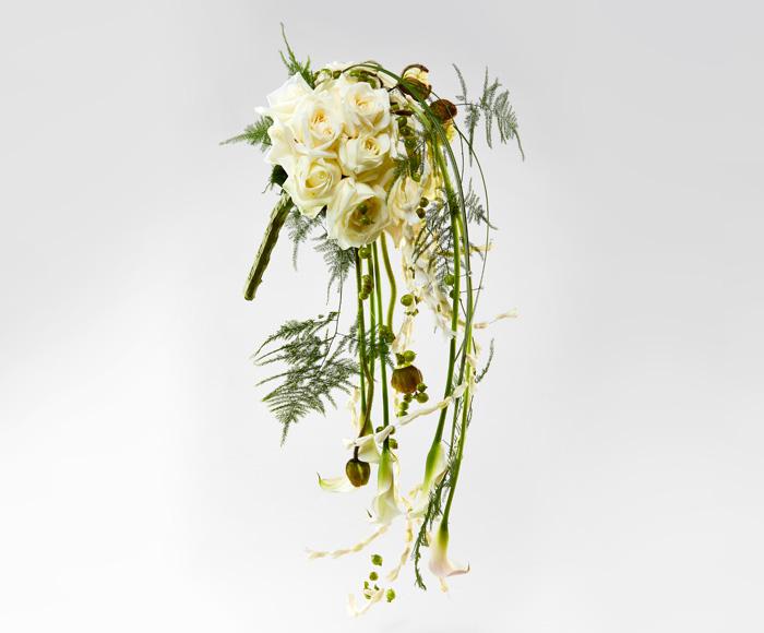 Image of   Brudebuket med hvide og grønne detaljer