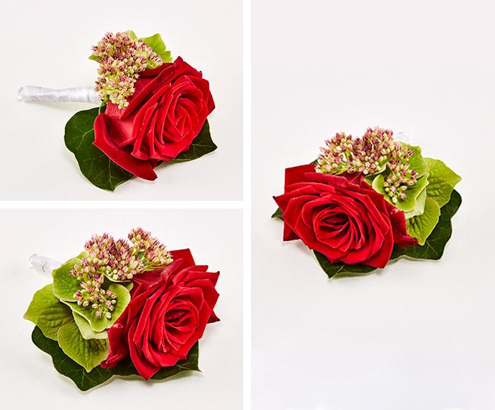 Knaphulsblomst, rød rose