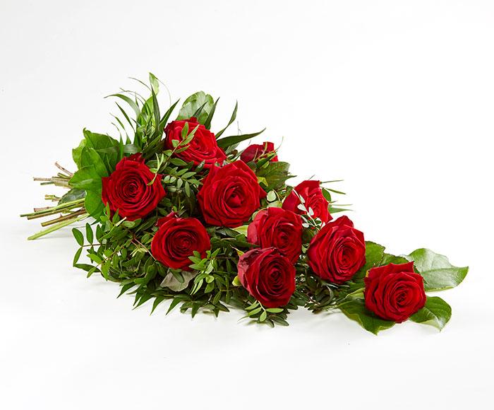 Bårebuket af røde roser