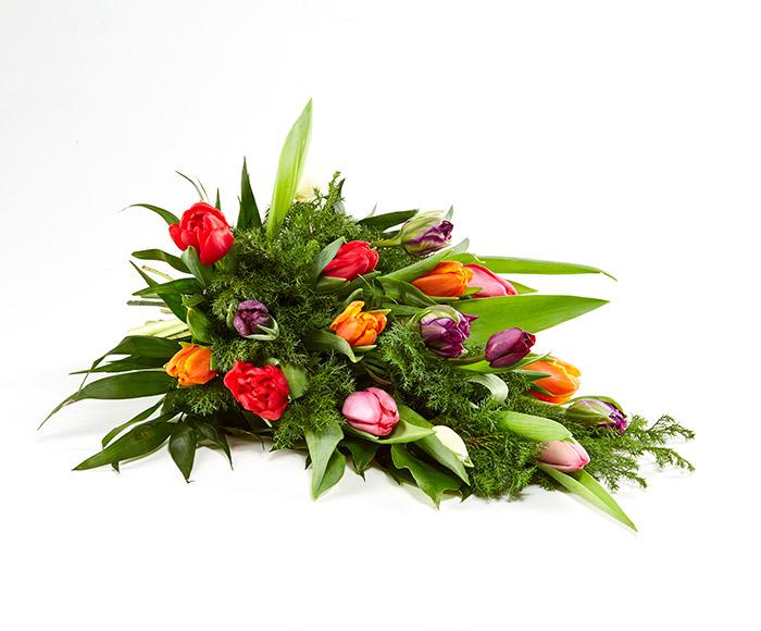 Bårebuket, blandede tulipaner