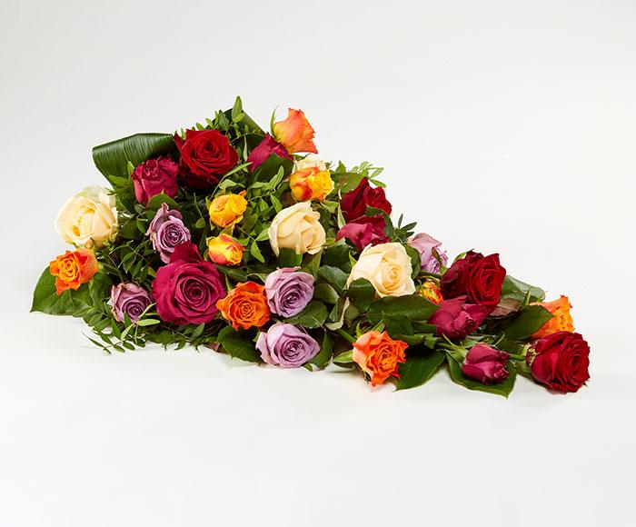 Bårebuket, blandede roser