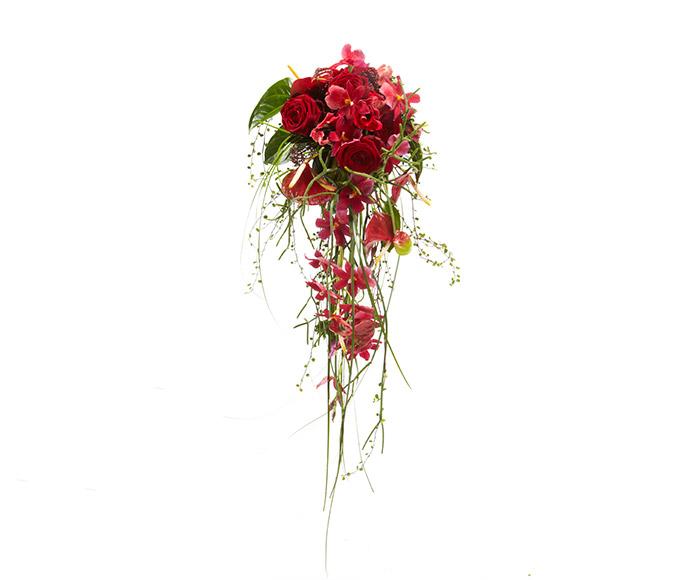 Rød brudebuket - dråbe