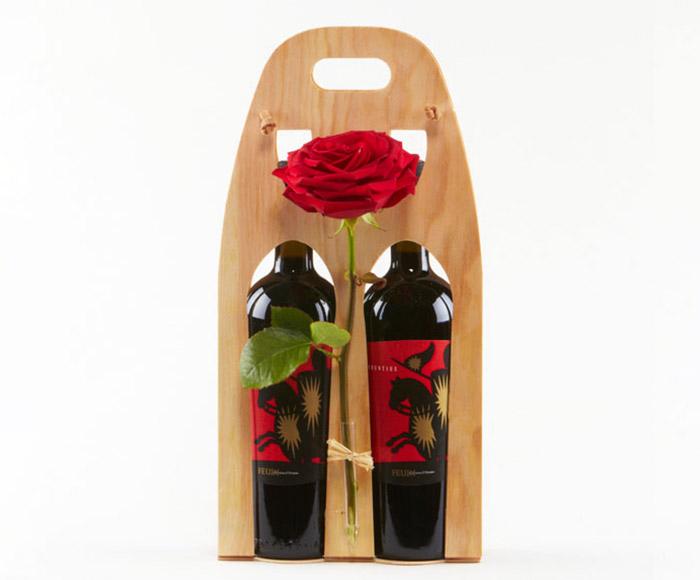 Send vingave, Rødvin pyntet med blomst