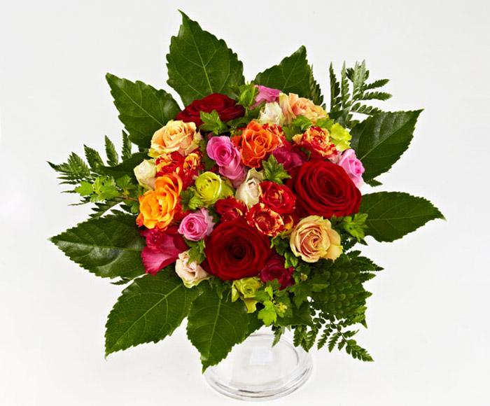 Image of   Bestil blomster, Rosenbuket i varme farver