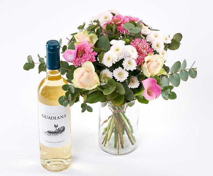 Sød Mors dag buket med hvidvin
