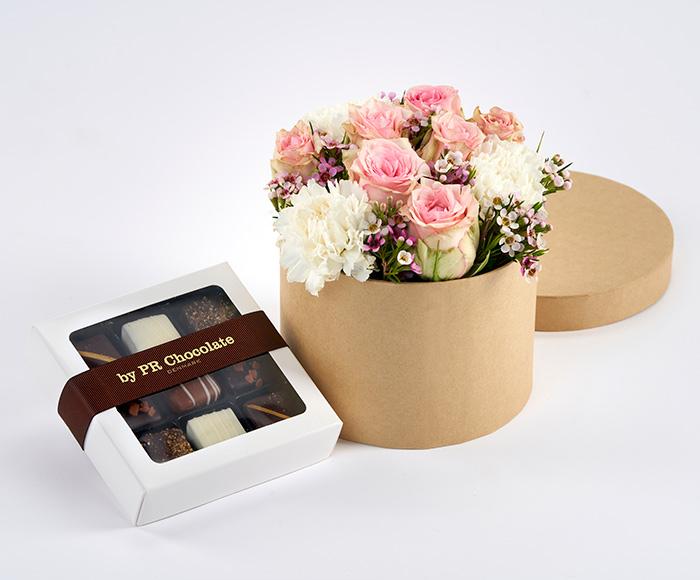 Blomsteræske med chokolade