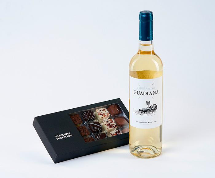 Chokolade og hvidvin gave