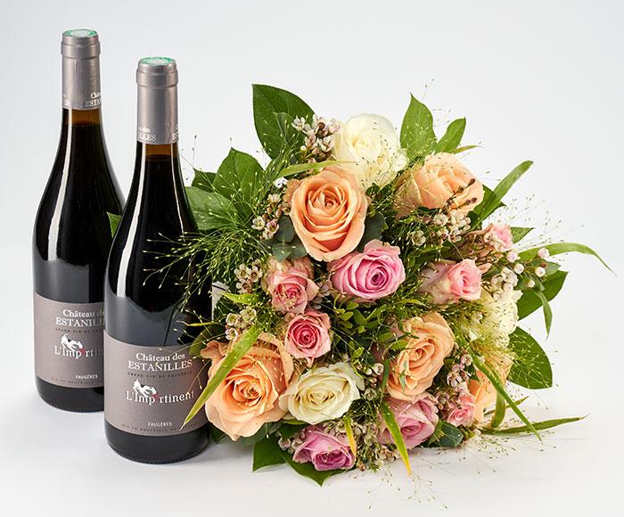 Valentinsblomster og vin