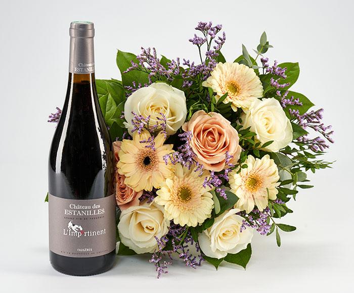 Rødvin og blomster